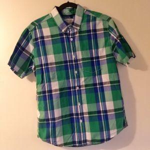 Aeropostale Men's Blue Green Plaid Shirt
